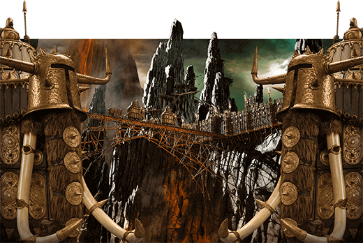 An apocalyptic scene showing Lord Nooth's rocky-mountain castle, with volcanoes in the background and two armoured guardian elephants.